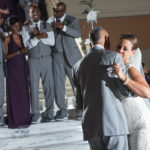 Bride and groom on the dance floor at wedding