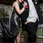 prom photography ideas couple standing with dress flying