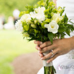 close-up of bride's hands with bouquet