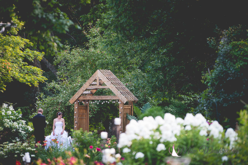 bride in flower garden