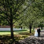 bride and groom walking along tree covered sidewalk