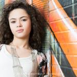 Indianapolis Senior Photographer | Alicia Images | orange wall | Mooresville Senior Photographer