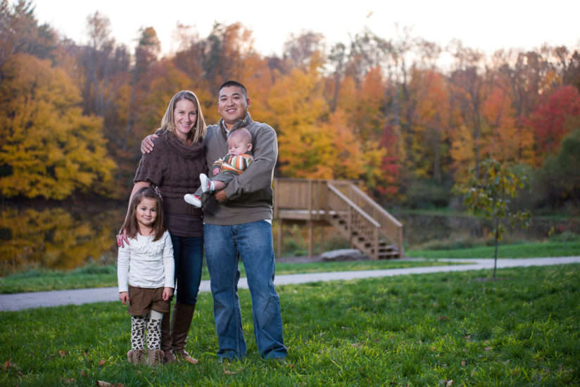 Mike Washington | MWPImages | family portrait in autumn with fall colors in front of lake